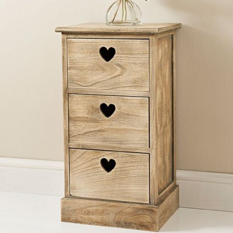 Natural Wooden Heart Chest of Drawers